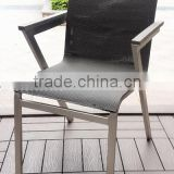 Brushed aluminum plastic wood stacking chair restaurant dining chair