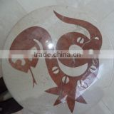 snake picture polished round water jet marble designs