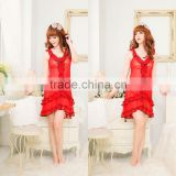 2027 Hot sale bright red lace Lotus leaf lace sling pajamas