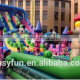2016 wholesale commercial Mickey beautiful style PVC 25M*8M*7M large size inflatable Castle with obstacle slide combos