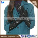 Hot sale womens black long sheepskin leather touch gloves with zipper