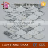 Hot sale octagon carrara white marble and crystal diamond glass mix mosaic for wall and backsplash