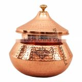 IndianArtVilla Steel Copper Serving Punjabi Handi with Lid 2250 ML - Serving Dishes Indian Food Home Hotel Restauarnt Tableware
