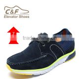 High class height increasing blue nubuck branded italian mens shoes/ man soft sole shoe/shoe brand in franc