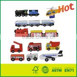15 Pcs Wooden Train Cars Emergency Vehicles Collection Fits Thomas Brio