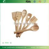 2015 Bamboo Tool Wooden Kitchen Cooking Spatula Set 6 Pc Spoon Fork Food Stir Utensil