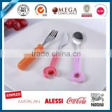 Hot selling Durable Stainless Steel Baby Cutlery Set spoon and Fork HB-69030 Set Plastic Handle