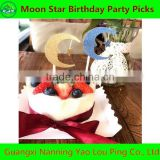 Party Supplies Gold /blue moon and star Insert Cards Cake For Home Garden Wedding Party Lovely Gift Decoration
