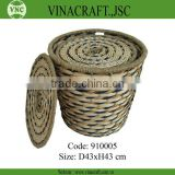 Decorative bamboo and water hytacinth waste basket with cover
