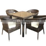 Best selling garden dining set rattan dining quare table and chair set cheap outdoor wicker furniture