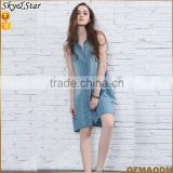 Fashion lady comfortable tencel fabric shirt dress knee length sleeveless women denim jeans dress