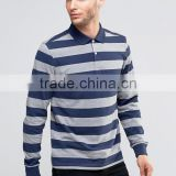 New Design Long Sleeve Button Placket Ribbed Cuffs Blue Stripe Men's 100% Cotton Breathable Pique 200g Blank Casual Polo T-Shirt