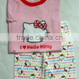 fashion new children's hello kitty short sleeve pajamas suits