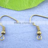 100Pairs Antique Bronze Ear Wire Hooks With Spring & Ball 18*19mm