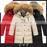 2017 new design children down jackets coat with real fur collar for winter