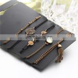 5pcs/set Fashion Rhinestone Tassel Heart Bracelet Sets