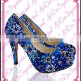 Aidocrystal royalblue rhinestone Italian desginer brand high heels,summer women sandals