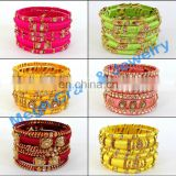 WHOLESALE LOT THREAD BANGLES-INDIAN ETHNIC HANDMADE THREAD BANGLE-ACRYLIC THREAD BANGLE BRACELET-ONLINE BUY LOT THREAD BANGLES
