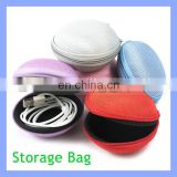 Round Portable Earphone Coin Purse USB Cable Bag Zipper Case Round Storage Box