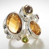 Designs Inspired DY 925 Silver Citrine Oval Stone Mosaic Ring