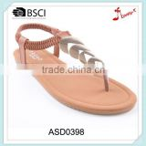 Shiny upper material sequined wholesale ladies sandals factory made in china