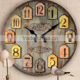New Products Walden Crafts Handmade Round Shape High Quality Antique Wooden Clock Wall Clock