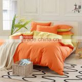 Factory price Yellow and orange dyeing stitching 100%cotton bedding sets duvetcover/ bedsheet /pillowcase