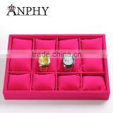 12 Grid Slots Rose red color Jewelry Organizer Watches Display Storage Box Case Gift Boxes Bracelet Display Shelf