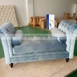 French Style Wooden Frame Velvet Upholstery Bedroom Bed End Bench
