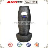 "35.6"" oval pillar on round bowl base indoor fountain, led bubble fountain slate grey"