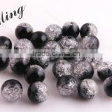 Black Color Wholesales 6mm to 16mm Acrylic Crackle Beads for Little Girl Chunky Necklace jewelry