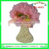 Embroidery pink chiffon flower tree design for garment decoration