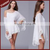 2016 latest design lady white blouse beach cover up top/                                                                         Quality Choice