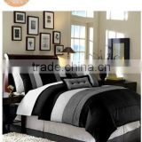 Modern Black White Grey Luxury Stripe Comforter Set Queen Size Bedding