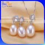 Fashion Jewerly 925 Sterling Silver Pink Pearl Jewelry Set