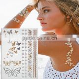 Hot Henna Metallic Waterproof Temporary Tattoo Gold Silver Flash Tattoo Women Flower Tattoo Sticker                                                                         Quality Choice