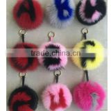 2016 Trendy Fashion Fur Keychain Super Big Fox Fur Ball Pendant 26 Letters Fur Ball Bags Pendant Keychain
