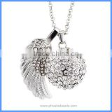 Wholesale Angel Wing White Rhinestone Pave Round Musical Sound Belly Bell Ball Pregnancy Necklace BAC-M034