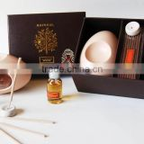 Cream egg-shaped ceramic essential oil burner perfume lamp with incense sticks