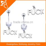 Wholesale high quality hot design zircon plated gold letter belly button ring