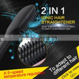 New 2 in 1 PTC Heating Ionic Brush Hair Straightener Comb Irons With LCD Display Electric Hair Straight Brush 150-230 Degree