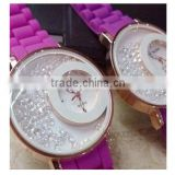 Double dial case silicone bling diamond watch woman