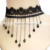 Latest design fashion elegant handmade lace vintage bead tassel choker necklace party wedding jewelry