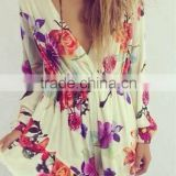 2015 Women Summer New Floral Print with Deep V-ncek Long Sleeve Sexy Jumpsuits, Wide Leg Playsuit