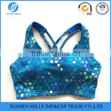 Hang back adjust deductions women's fitness sublimation sports bra underwear high support padded running bra