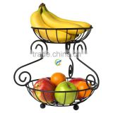 Steel Black 2 Tiered Stand Fruit Basket