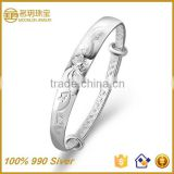 Factory Direct Sale!!!100% 990 Gold Plated Silver Bangles for Baby Boy