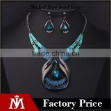 2016 Unique jewelry sets women europe precious blue stone necklace and water drop earrings