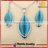 Fashion Jewelry Set for Women Silver Plated Blue Opal Spindle Necklace Ring Earring Jewelry Set