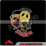 Bling t-shirt transfers wholesale Peace, Love, Hornet imports exports in china